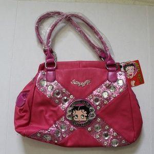 Betty Boop Hobo Bag Purse B14H-300 Fuchsia